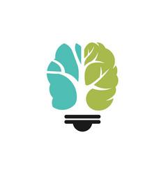 Lamp brain logo template vector