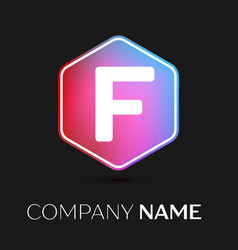 letter f logo symbol in colorful hexagonal vector image