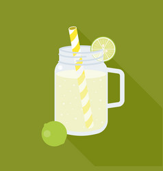 Lime juice in mason jar vector