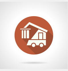 Logistics machine orange round icon vector