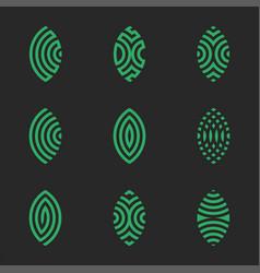 logo patterned green leaf plants icon set vector image