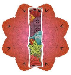 mandala with letter i decorative zentangle vector image