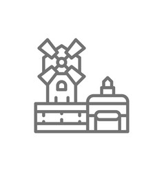 moulin rouge cabaret landmark paris france vector image