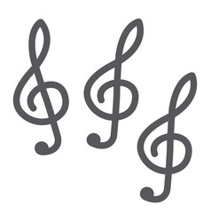 music clef glyph icon music and note music key vector image