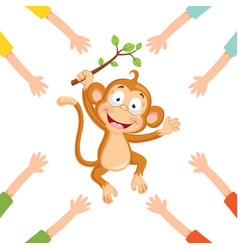 of cartoon hands with monkey vector image