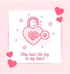 open lock heart shape key valentine card love icon vector image