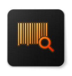 Orange glowing neon search barcode icon isolated vector