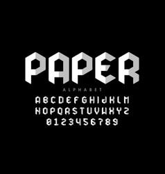 origami style font design paper folding alphabet vector image