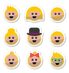 People with blond hair icons set vector image