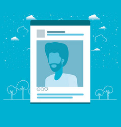 Picture of man in acount template vector