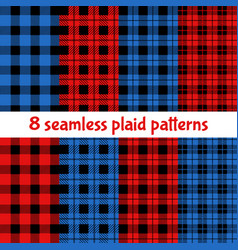 plaid and buffalo check patterns red black blue vector image