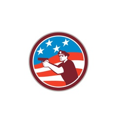 Policeman With Gun American Flag Circle Retro vector