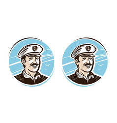 portrait of happy captain logo or label cartoon vector image