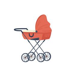 pram with newborn bachild cartoon stroller vector image