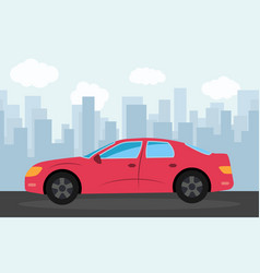 red sports car in the background of skyscrapers vector image