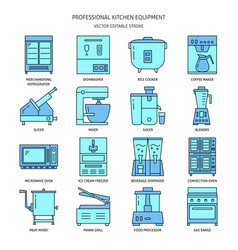 restaurant kitchen equipment icon set in colored vector image