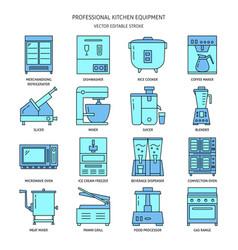 Restaurant kitchen equipment icon set in colored vector