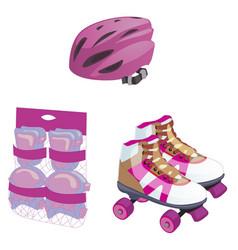 Roller skating cute cartoon equipment set vector