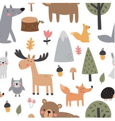 seamless cute pattern with woodland animals vector image