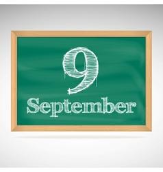 September 9 day calendar school board date vector
