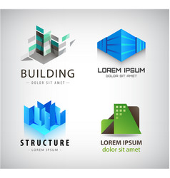 set building logos company icons vector image