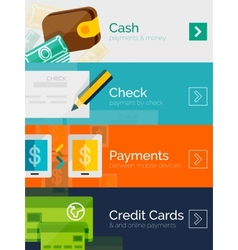 Set of flat design concepts payment online vector image