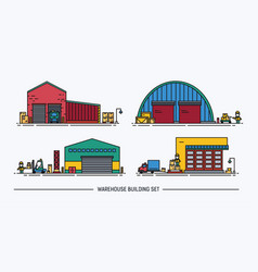 Set of warehouse buildings of different shape with vector