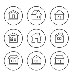 set round line icons house vector image