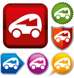 Set shiny icon series on buttons electric car vector