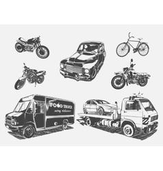 set transport motorcycle vector image