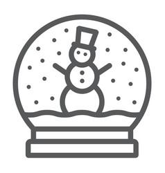 Snow globe line icon christmas and glass vector