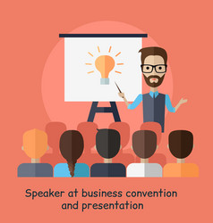 Speaker at business convention and presentation vector