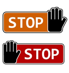 Stop hand gesture labels vector