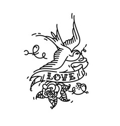 tattoo swallows with inscription love and a vector image