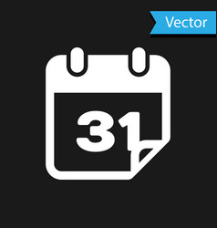 white calendar icon isolated on black background vector image
