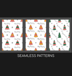 winter holidays seamless pattern set doodle style vector image