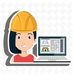 woman architecture laptop plans vector image
