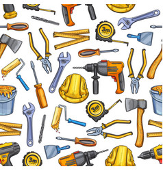 Work tools repair sketch seamless pattern vector