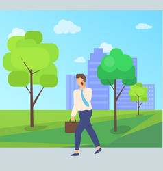 Worker character going on road in park vector
