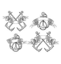 anchor with ribbon set vector image vector image
