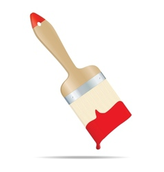 Brush with red paint vector image
