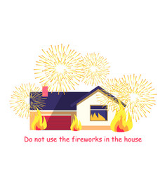 burning building with fireworks isolated on white vector image vector image