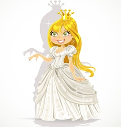 Cute princess in a white dress gives a hand vector image vector image