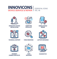 device service - modern line design icons vector image