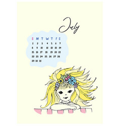 doodle girl of the month for the month of june in vector image vector image