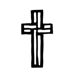 Grungy religion symbol Black and white cross vector image vector image