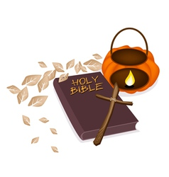 Holy Bible with Wooden Cross and Pumpkin Lantern vector image vector image