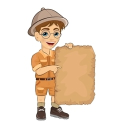 kid boy with glasses holding blank adventure map vector image