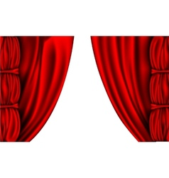 shiny red silk curtains with columns vector image vector image