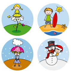 children showing the four seasons vector image
